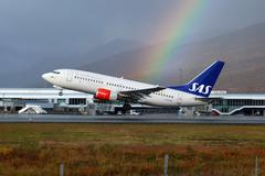 sas scandinavian airlines boeing 737-700 - stock photo