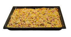 Large pizza on a baking sheet Stock Photos