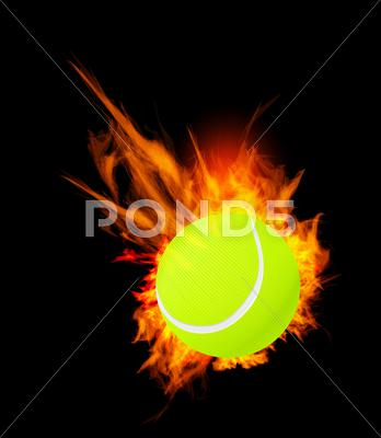 Stock Illustration of tennis ball on fire