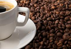 coffee with coffee-beans - stock photo