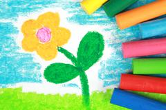kiddie style crayon drawing of a flower - stock illustration