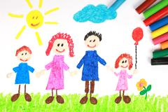 kiddie style crayon drawing of a happy family - stock illustration