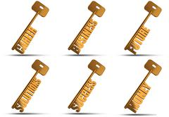 gold key set - stock illustration
