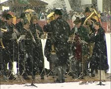 Music, traditional Bavarian music played in the snow Stock Footage