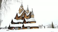 Heddal stave church Stock Footage