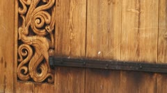 Carvings on Heddal stave church Stock Footage
