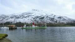 Timelapse of ullswater steamer leaving glenridding Stock Footage
