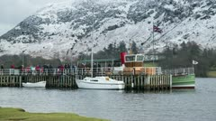 Timelapse of passengers boarding ullswater steamer Stock Footage