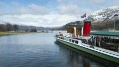 Timelapse of Ullswater steamer, lady of the lake in winter Stock Footage