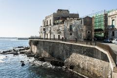 coastal waves at syracuse.coastline in syracuse, sicily - stock photo