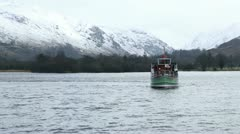 English lake district steamer on ullswater in winter Stock Footage