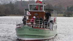 Steamer on Ullswater in Winter, English lake district Stock Footage