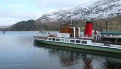 Steamer on Ullswater in the English Lake District Stock Footage