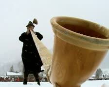 Horn blowing, Bavarian music, Germany Stock Footage