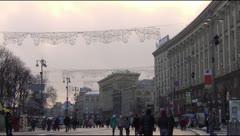 Khreschatyk in central Kiev, winter Stock Footage