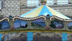 Carousel in central Kiev, winter Stock Footage