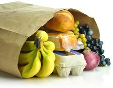 Paper bag with groceries Stock Photos