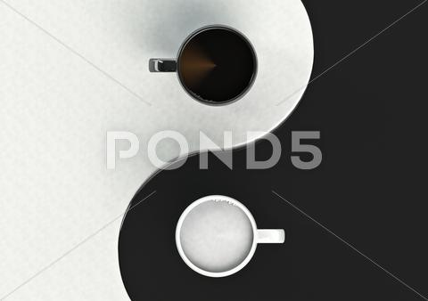 Stock Illustration of Yin yang coffee harmony