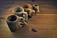 Stock Photo of Wooden coffee cups or guksi