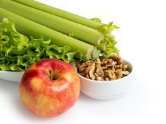 ingridients for waldorf salad - stock photo