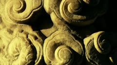 Close-up stone pillars carved sculpture & Cloud pattern. Stock Footage