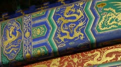 Magnificent Painted Carved beam girders.China Beijing ancient architecture. Stock Footage
