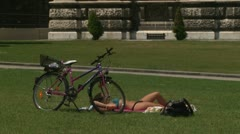 Girl on the grass Stock Footage