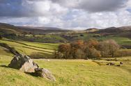 View of wharfe dale from norber erratics in yorkshire dales national park Stock Photos