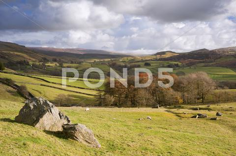 Stock photo of view of wharfe dale from norber erratics in yorkshire dales national park