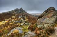 Ramshaw rocks in peak district national park on foggy autumn day Stock Photos