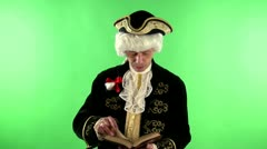 Colonial man reading Stock Footage