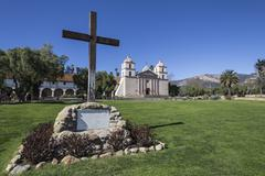 santa barbara historic mission - stock photo
