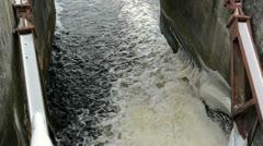 Panorama water stream flow splash vintage dam ice snow winter Stock Footage