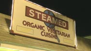 Stock Video Footage of Steamed Organic Vegetarian Cuisine Restaurant Sign