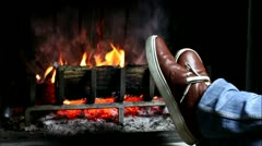 Feet are catching fire. Stock Footage