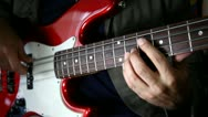 Stock Video Footage of Bass guitar player close up left and right hand