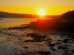 Sunset at Stoke Gabriel, UK - stock photo