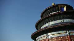 Temple of Heaven in Beijing.China ancient architecture.Painted Carved beam tile Stock Footage