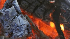 Campfire Coals with Heat Waves and Smoke Stock Footage