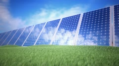 Solar sustainable energy panels Photovoltaic renewable power supply system Stock Footage