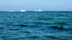 Two yacht are moving toward each other Stock Footage