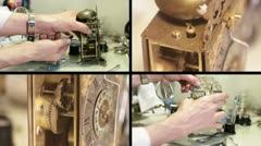 Clockmaker winding a antique clock to make it sound Stock Footage