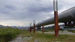 Petroleum Pipeline - Alaskan Resources - Pan Wildland to Installation Stock Footage