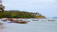 1920x1080 video - anchored thai traditional wooden boats Stock Footage
