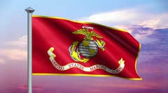 Marines Flag and Colorful Sky Loop Stock Footage