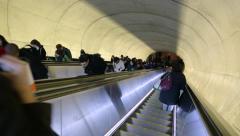 Commuter escalator subway metro station going down - stock footage