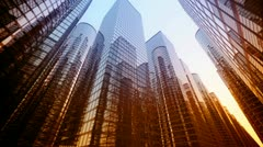Skyscrapers city. Architecture construction business office futuristic building. Stock Footage