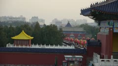 China's ancient architecture.Tourists visitors at red door,Chinese red lanterns. Stock Footage