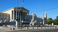 Austrian parliament building (Hohes Haus) with tourists in Vienna, Austria. Stock Footage