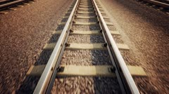 Ride over railroad track. Train transportation. Logistics industrial background. - stock footage
